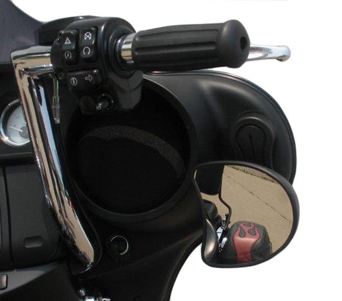 Pingel Black Fairing Mirror Drop Brackets for 14-19 Harley Touring Bagger FLHX