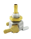"Inline Dual Outlet on/Off Only Hex Valve-5/16"" hose barb inlet-90°5/16"" hose barbs-Aluminum"